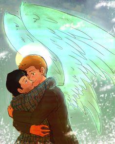 Reverse!verse Destiel (look at those wings *o*)