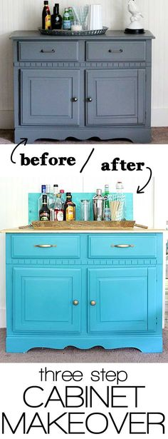 three step cabinet makeover | Bring an old piece of furniture back to life with this idea to do a cabinet makeover from something boring to bright and bold.