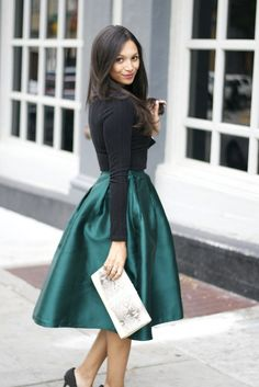 Britt+Whit| Holiday party ready in this gorgeous jewel toned midi skirt!