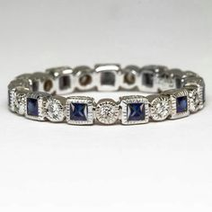 0.83c BLUE SAPPHIRE PRINCESS DIAMOND VINTAGE WEDDING ETERNITY BAND COCKTAIL RING #WithDiamondsGemstones