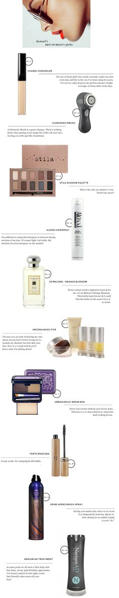 My Top 10 Beauty Favorites | Damsel in Dior  Not good for SEO but elegant layout and there's still some text in the post