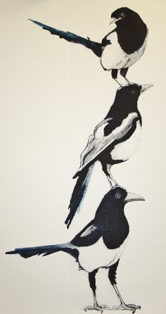 3 For a Girl. Carborundum, wood glue and grey board.~By Sue Brown