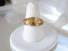 Unique Designer Gold on Sterling Silver 925 Genuine Step Cut Citrine Ring 8 #Designer #Dome