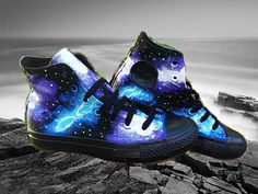 Blue and Purple Galaxy Converse Black High Tops