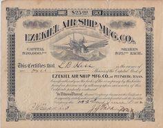 Ezekiel Airship Manufacturing Company stock certificate 1902