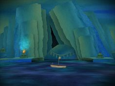 Screenshot from Tengami's the ocean level.
