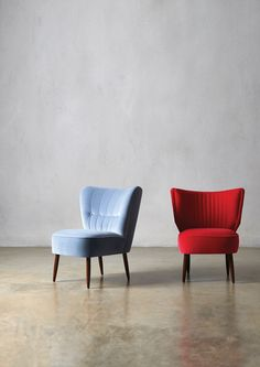 From left: The FITZ and the DUKE Cocktail Chairs, in Topaz and Schiaparelli Velvet - Swoon Editions - swooneditions.com