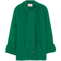Gucci Ruffled silk crepe de chine shirt (3.165.435 COP) via Polyvore featuring tops, gucci, green, silk top, green top, embellished shirt, flounce tops and green ruffle shirt