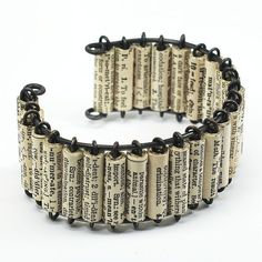 Paper Bead Jewelry- Vintage Dictionary Upcycled Paper Bead Cuff Bracelet