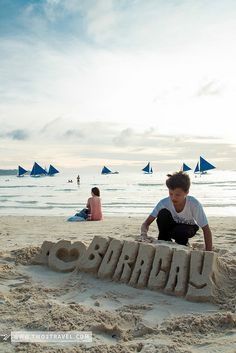 After school, starting at 4 PM, local kids go to White Beach and approach tourists, offering to build sandcastles with their (tourists') name on it for a fee, usually from P50 to P100.