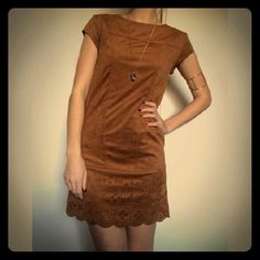 Faux suede laser cut shift dress Sz XS, EUC. The color is closest to pics 2-4. Pic 1 is borrowed from Google image search. Mini, shift dress with scalloped,  laser cut hem. Zipper back. Faux sue free feel. Lined. Xhilaration Dresses Mini