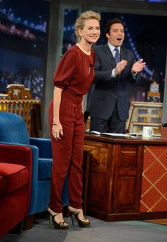 "Naomi Watts in Valentino on ""Late Night With Jimmy Fallon"""