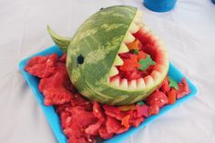 Liam's Ocean Sea themed Birthday Party complete with a watermelon shark! 5th Birthday, Birthday Parties, Special Day, Shark, Watermelon, Birthdays, Ocean, Holidays, Fruit