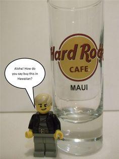 HARD ROCK CAFE MAUI SAVE THE PLANET   TALL SHOT GLASS  HEAVY BASE