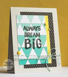 Reverse Confetti | Just Because, Encouragement, Hello, Thinking of You Card, Triangles, Ombre, Gradient, Twine, Teal, Yellow, Black, Gray
