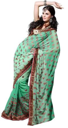 Anamika Green Bollywood Georgette Designer Party Wear Sari saree