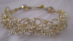 Silver and Gold crocheted wire bracelet :)