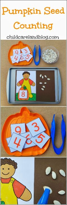 Pumpkin Seed Counting is a great way to improve counting skills, work on fine motor skills and of course, play with pumpkin seeds! Fall Preschool, Kindergarten Classroom, Classroom Activities, Toddler Activities, Preschool Activities, Theme Halloween, Halloween Activities, Autumn Activities, 2 Kind
