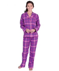 f9d0dd4871b0 Women s Bright Plaid Boyfriend Pajamas w Button-Up Top - Raspberry -  CE115ECCLL7