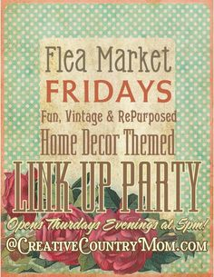 Creative Country Mom's Vintage Home and Garden: My Sweet-Shabby Vintage Tin Lampshade and The Very First Flea Market Friday Link Up Party!