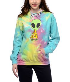 Take your love for pizza to a whole new dimension with this Pizza Nerd tie dye hoodie from JV by Jac Vanek. Be your own Pizza Nerd in this soft fleece relaxed hoodie featuring a bold tie dye base with an alien friend munching on his favorite kind of pizza. (XS)