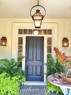 really love the large plants in the in the front and the hanging lanterns and ceiling porch lightingexterior - Patio Ceiling Lighting Ideas