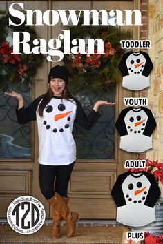 Looking for a fun Christmas raglan for the whole family? This Snowman Face raglan is perfect for the family photos and gatherings! Available in 2T-5X