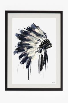 Large Framed Headdress Print 50X70 | Wall Art | French Connection