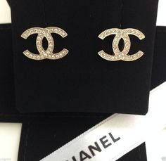 NEW 2014 CHANEL SWAROVSKI CRYSTAL GOLD EARRINGS CLASSIC CC LOGO STUD NWT #Chanel #Stud