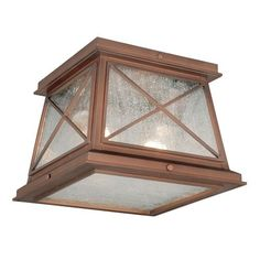 Mackinac Antique Red Copper Two-Light Outdoor Flush Mount with Seeded Glass