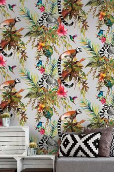 Madagascar – pirate island with tropical rainforests and exceptional exotic fauna, all beautifully depicted on this stunning design wallpaper. Wallpaper From The 70s, Funky Wallpaper, Tropical Wallpaper, Madagascar, Pirate Island, Tropical Prints, Wallpaper Online, Fauna, Creative Home