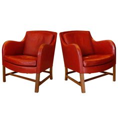 Pair of Kaare Klint & Edvard Kindt-Larsen Chairs, Denmark 1940 | From a unique collection of antique and modern lounge chairs at http://www.1stdibs.com/furniture/seating/lounge-chairs/