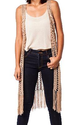 Beige Beauty Junior Crochet long fringe Vest S-M-L – Plan B Fashionista