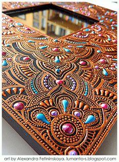 Art by Alexandra Fet: February 2013 Mandala Art, Mandala Painting, Mandala Design, Tatoo Henna, Henna Art, Dot Art Painting, Painting Frames, Mirror Art, Aboriginal Art