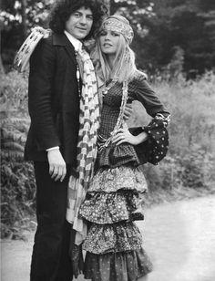 Brigitte Bardot and fashion designer Jean Bouquin, 1969.