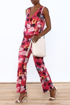 Sleeveless Floral Print Jumpsuit.   Kylie Jumpsuit by Vertex by Rina. Clothing - Jumpsuits & Rompers - Jumpsuits California