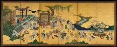 """Школа Кано #1 (Киото) - Традиционная японская живопись и гравюра  Кано Эйно (1631-1697), """"100 мальчиков"""", парные ширмы, музей Метрополитен, Нью Йорк:  Эйно больше известен не как художник, а как автор шеститомной """"Истории живописи в Японии"""", первого серьёзного исследования японского изобразительного искусства с древнейших времён, которое было опубликовано в 1691 году и является основным источником знаний о классической японской живописи."""