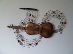 Fabulous MUZIEKSCHOOL Prachtige metalen wanddecoratie van een viool met strijkstok