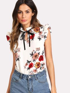 67eca6ae84bf1 Pearl Embellished Frill Trim Floral Top Floral Blouse