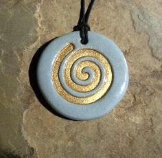 golden clay pendant | gold spiral ceramic pendant necklace jewelry clay rob drexel