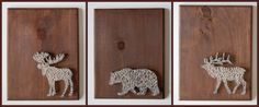 Moose, bear, elk animal nail and string art on wooden pallets