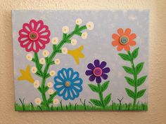 Fun Flowers w/ Buttons Handpainted Springtime by TheCreativeSign