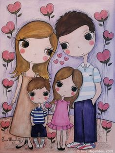 PlantandoColhendoAmor Mother Daughter Art, Mother Art, Family Illustration, Cute Illustration, Art Drawings For Kids, Cute Drawings, Easy Art For Kids, Family Drawing, Cute Couple Art