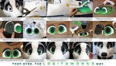 Making Toony Eyes This tutorial will cover how to make eyes for a fursuit by being resourceful with available materials to create cartoony eyes for your mask. This technique yields eyes with good. Cosplay Tutorial, Cosplay Diy, Halloween Cosplay, Cosplay Costumes, Fnaf Costume, Halloween 2016, Fursuit Tutorial, Eye Tutorial, Fursuit Head