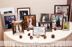 family wedding photos table