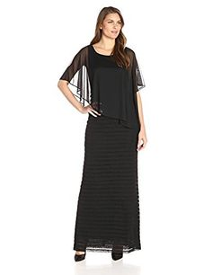 Adrianna Papell Women's Asymmetrical Tucked Formal Gown with Chiffon Overlay