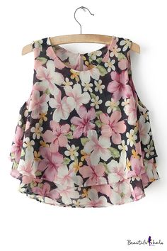To find out about the Pink Sleeveless Floral Double Layers Chiffon Blouse at SHEIN, part of our latest Blouses ready to shop online today! Girls Fashion Clothes, Teen Fashion Outfits, Look Fashion, Spring Fashion, Ladies Fashion Tops, Kurta Designs, Blouse Designs, Sleeves Designs For Dresses, Frock Design