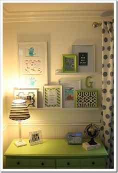 """Painted dresser and """"gallery"""" for boy room. Like the way the shelves are organized and showing off some of their work/handprints. Big Girl Rooms, Boy Room, Kids Rooms, Display Shelves, Shelving, Wall Shelves, Nursery Shelves, White Shelves, Artwork Display"""