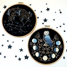 Your place to buy and sell all things handmade Owl Embroidery, Halloween Embroidery, Wooden Embroidery Hoops, Modern Embroidery, Cross Stitch Embroidery, Embroidery Patterns, Cross Stitches, Constellation Quilt, Moon Calendar