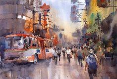 Direk Kingnok Watercolor artist Bangkok's Chinatown.